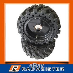 12x16.5 / 33x12-20 Solid Cushion Skid Steer 4x Tires withRims