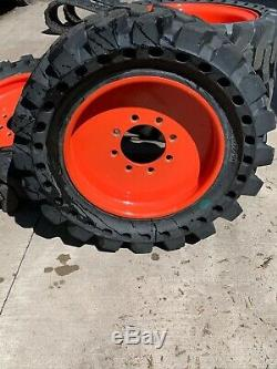 33x12x20 Bobcat Solid Skid Steer Tires Set of 4 with Rims