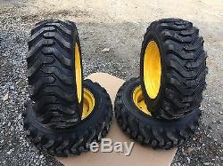 4 HD 10-16.5 Trac Chief XT Skid Steer Tires/wheels/rims for New Holland 6 lug