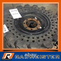 4 Solid Skid Steer Tires 10x16.5 with Rims Flat Proof 10-16.5