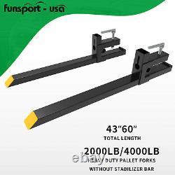 4000lb/2000lb Clamp Bucket Fork Quick Attach Fork For Backhoe Skid Steer Loader