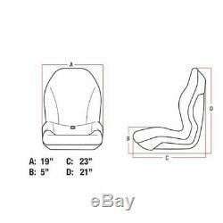 BLACK Vinyl SEAT for Riding Lawn Mower Skid Steer UTV Compact Tractor Zero Turn