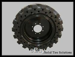 Flat Free Solid Skid Steer Tires Set of 4 with Rims 12x16.5 / 33x12x20 Free Ship