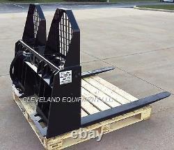 NEW HYDRAULIC ADJUSTING PALLET FORKS & FRAME ATTACHMENT Skid Steer Track Loader