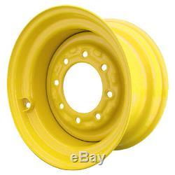 Set of 4 8 Lug New Holland LS170 Skid Steer Wheels, 8.25x16.5, 10x16.5 Tires