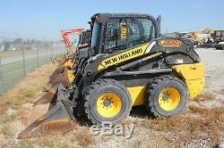 Used 2016 NEW HOLLAND L220 Skid Steer Loader Enclosed Cab, A/C, Heat, 71 Bucket